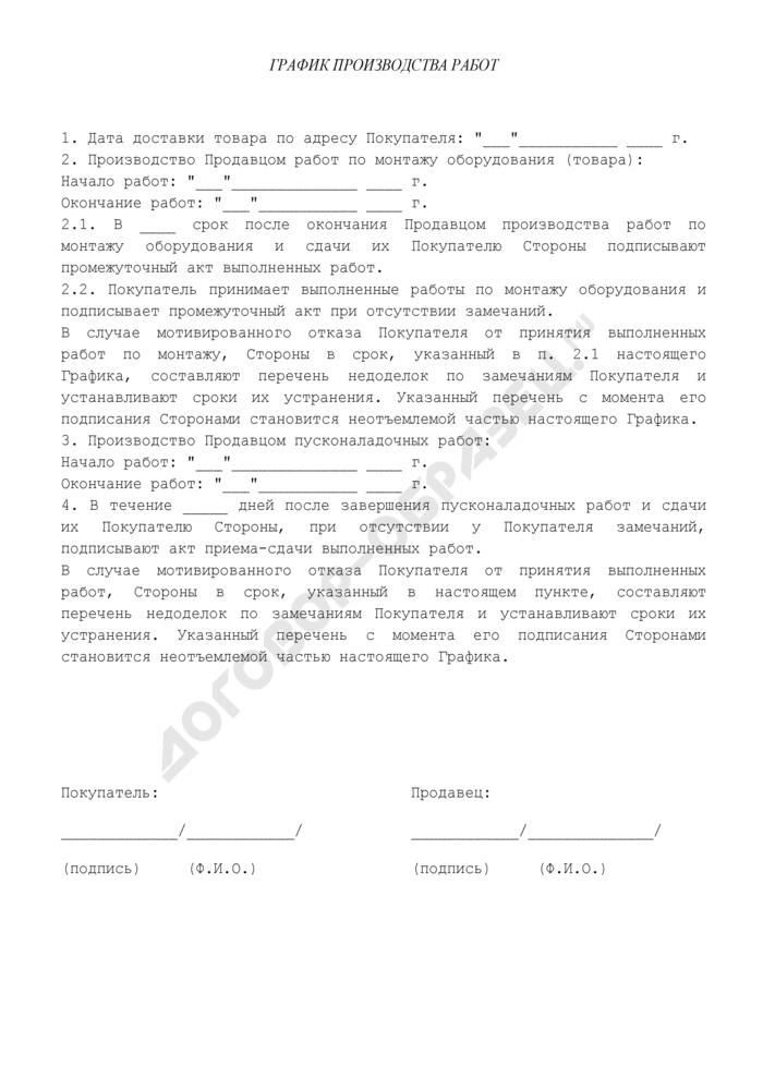 График производства работ (приложение к договору купли-продажи оборудования между организацией и физическим лицом). Страница 1