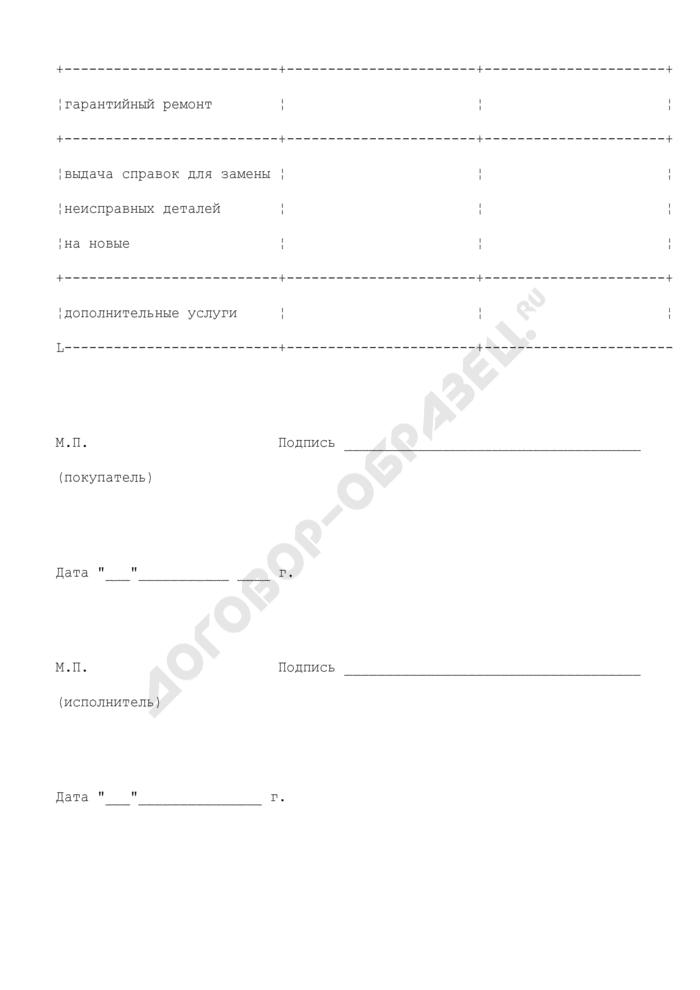 График работ, услуг (приложение к договору между покупателем и ремонтной организацией на ввод в эксплуатацию, техническое обслуживание и ремонт в гарантийный и послегарантийный период вычислительной и другой техники). Страница 2
