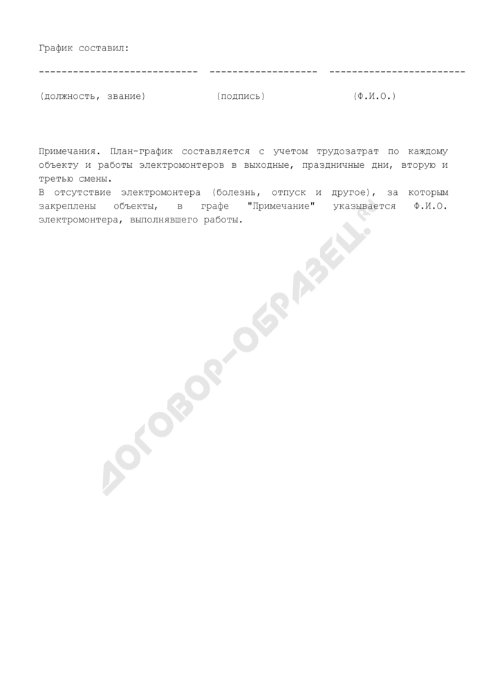 План-график выполнения регламентов обслуживания технических средств охраны, установленных на объектах (приложение к договору о вневедомственной охране имущества юридического лица). Страница 3