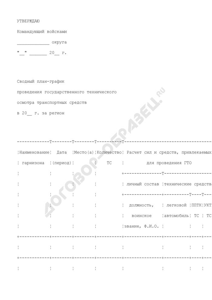 Сводный план-график проведения государственного технического осмотра транспортных средств воинской части. Страница 1
