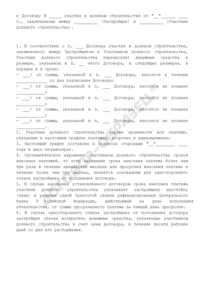 График платежей (приложение к договору участия в долевом строительстве объекта недвижимости). Страница 1