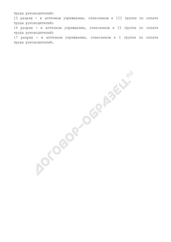Тарифно-квалификационная характеристика заведующего аптечным учреждением (13 - 17 разряды). Страница 2