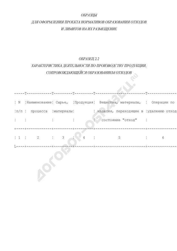 Характеристика деятельности по производству продукции, сопровождающейся образованием отходов (образец). Страница 1