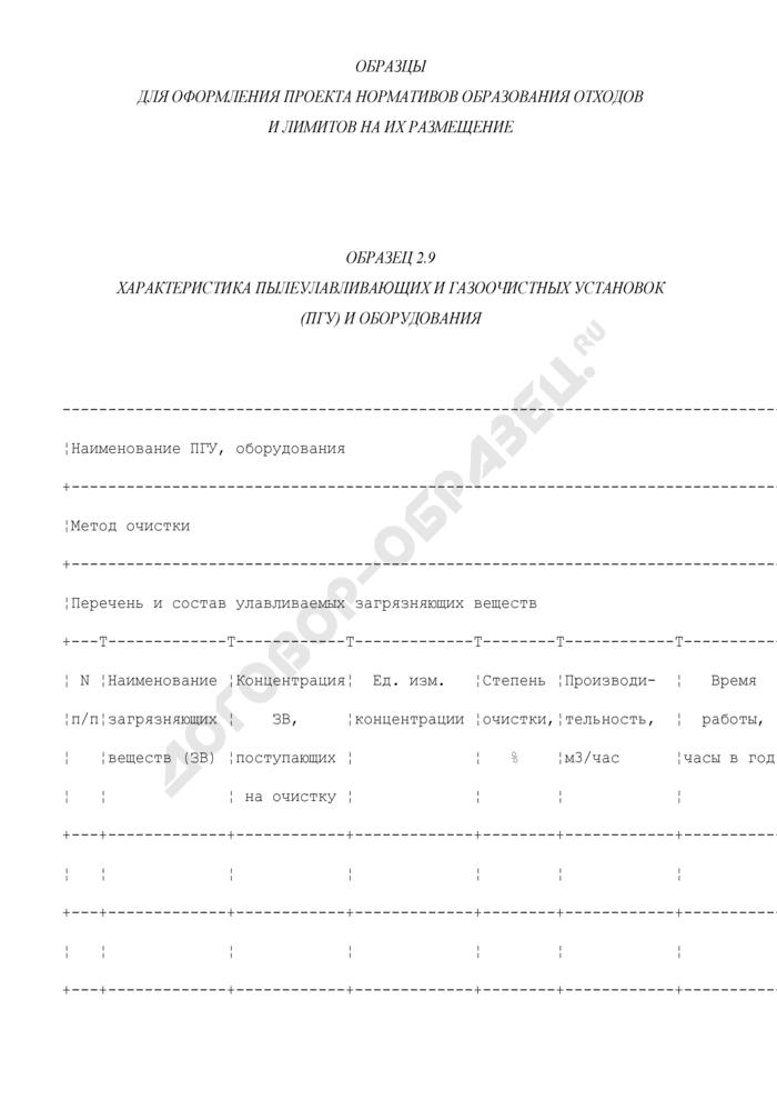 Характеристика пылеулавливающих и газоочистных установок (ПГУ) и оборудования (образец). Страница 1