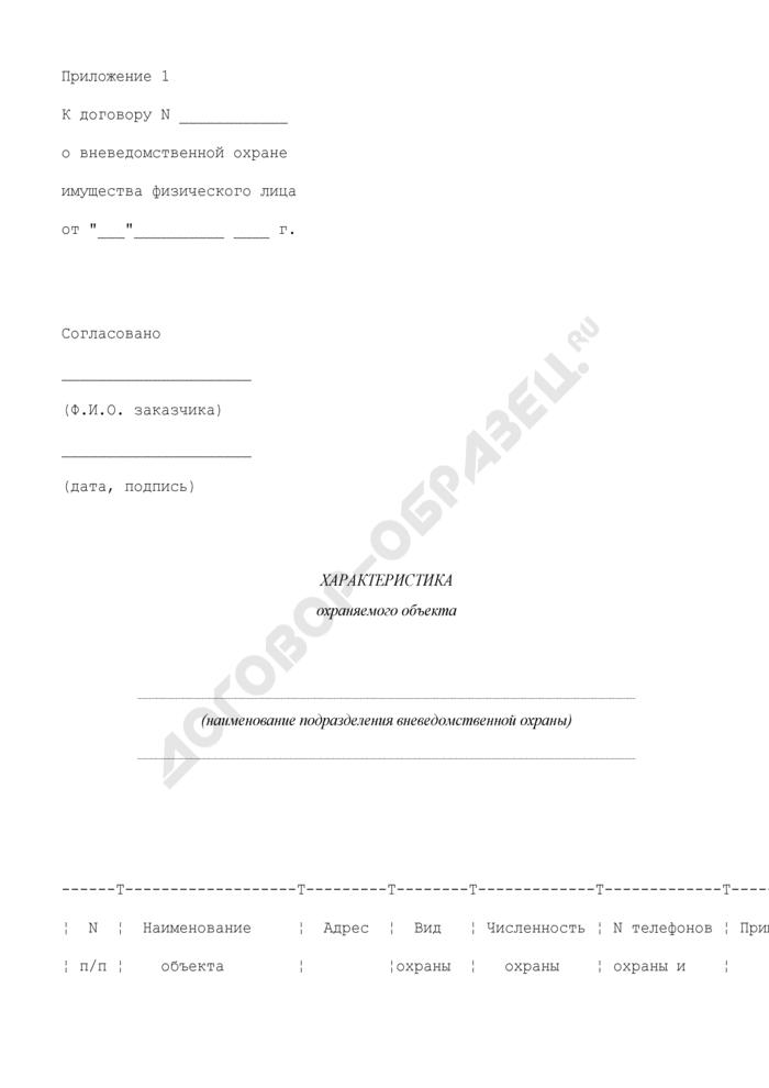 Характеристика охраняемого объекта (приложение к договору о вневедомственной охране имущества физического лица). Страница 1