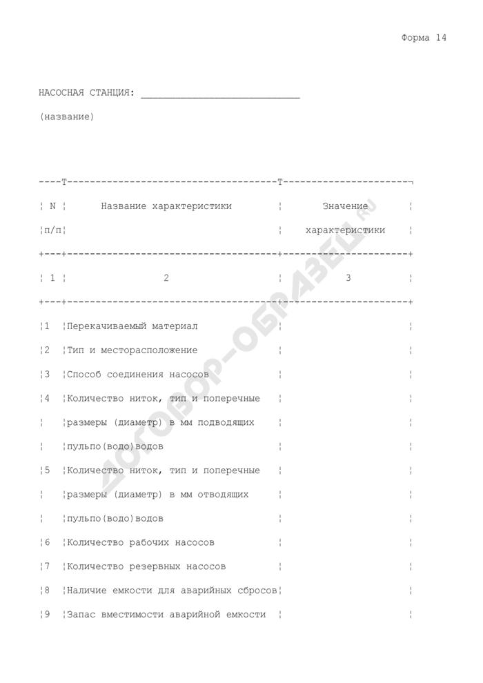 Характеристики насосной станции. Форма N 14. Страница 1