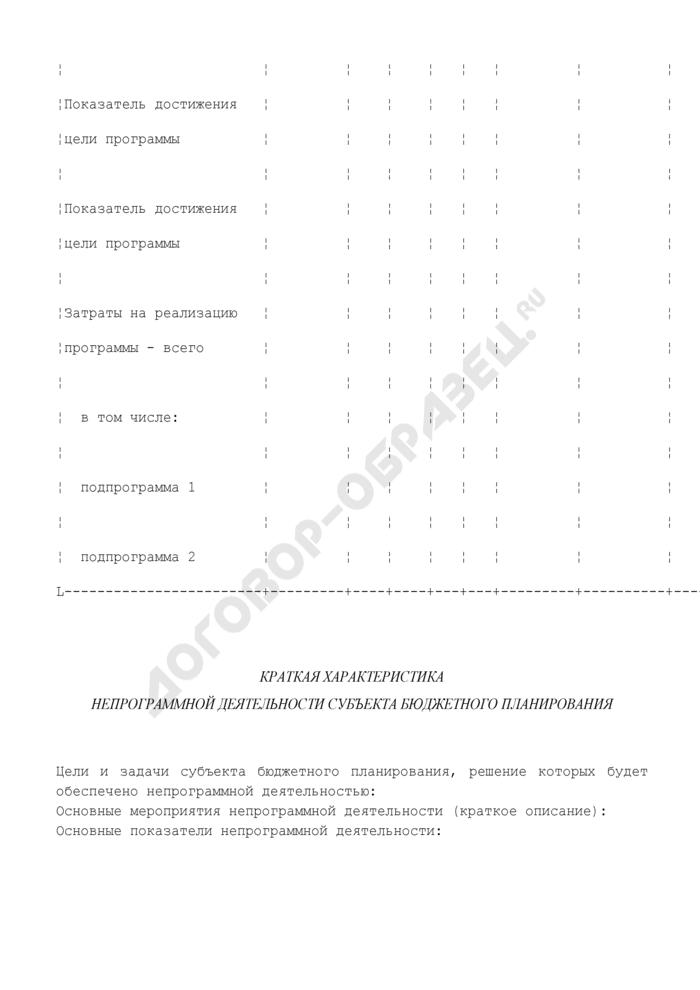 Краткая характеристика действующей и (или) планируемой бюджетной целевой программы. Страница 2