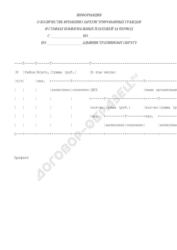 Информация о количестве временно зарегистрированных граждан и суммах коммунальных платежей. Страница 1