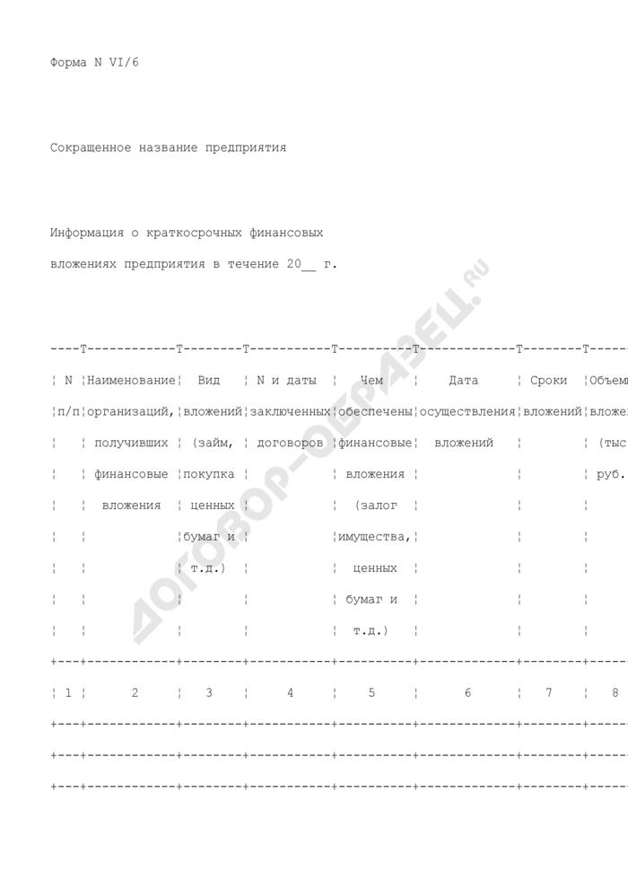 Информация о краткосрочных финансовых вложениях предприятия, находящегося в сфере ведения и координации Роспрома. Форма N VI/6. Страница 1