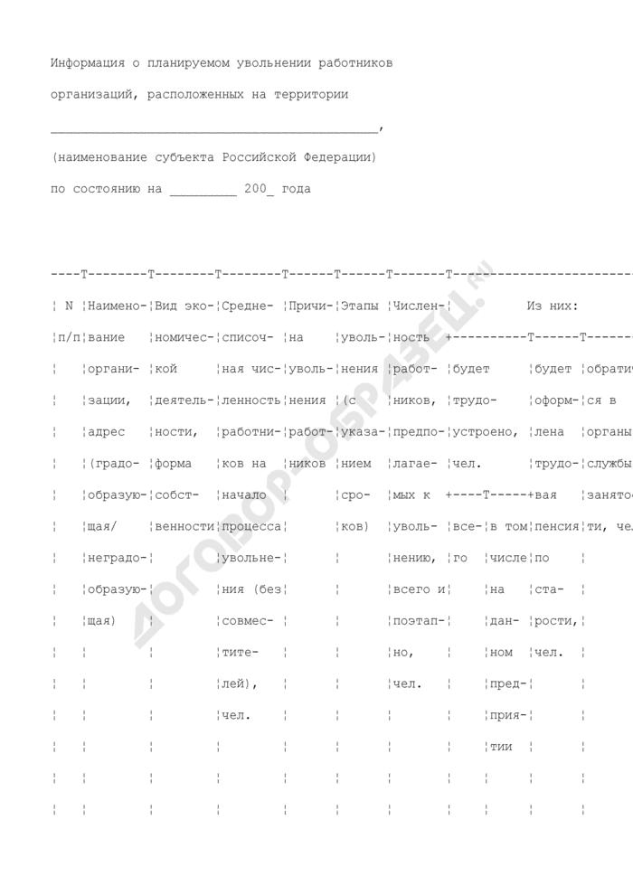 Информация о планируемом увольнении работников организаций, расположенных на территории субъекта Российской Федерации. Страница 1