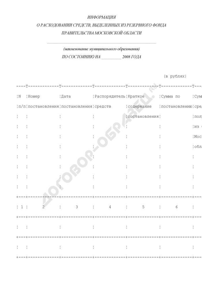 Информация о расходовании средств, выделенных из резервного фонда Правительства Московской области. Страница 1