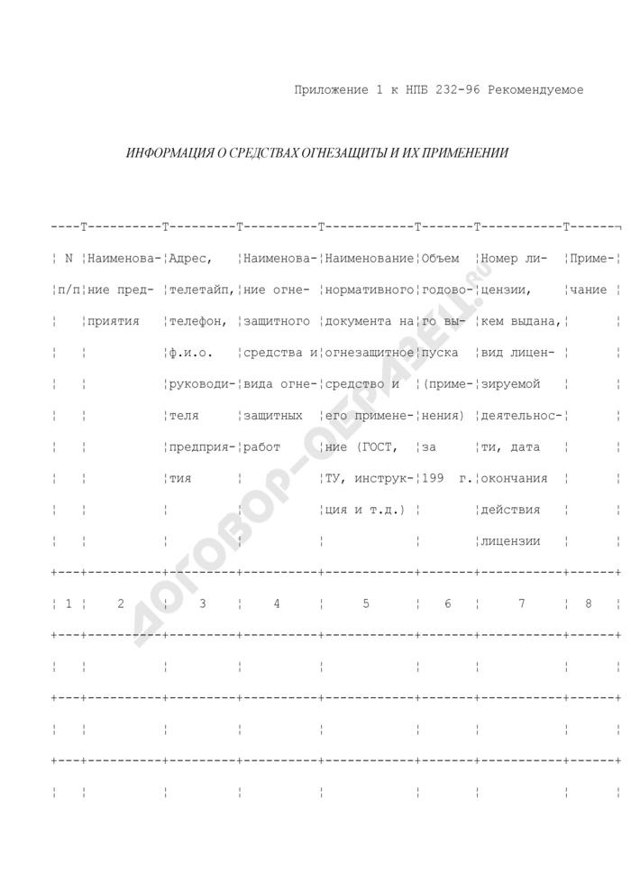 Информация о средствах огнезащиты и их применении (рекомендуемая форма). Страница 1