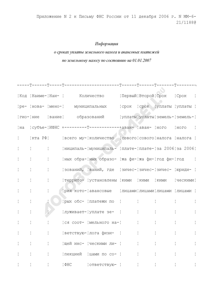 Информация о сроках уплаты земельного налога и авансовых платежей по земельному налогу. Страница 1