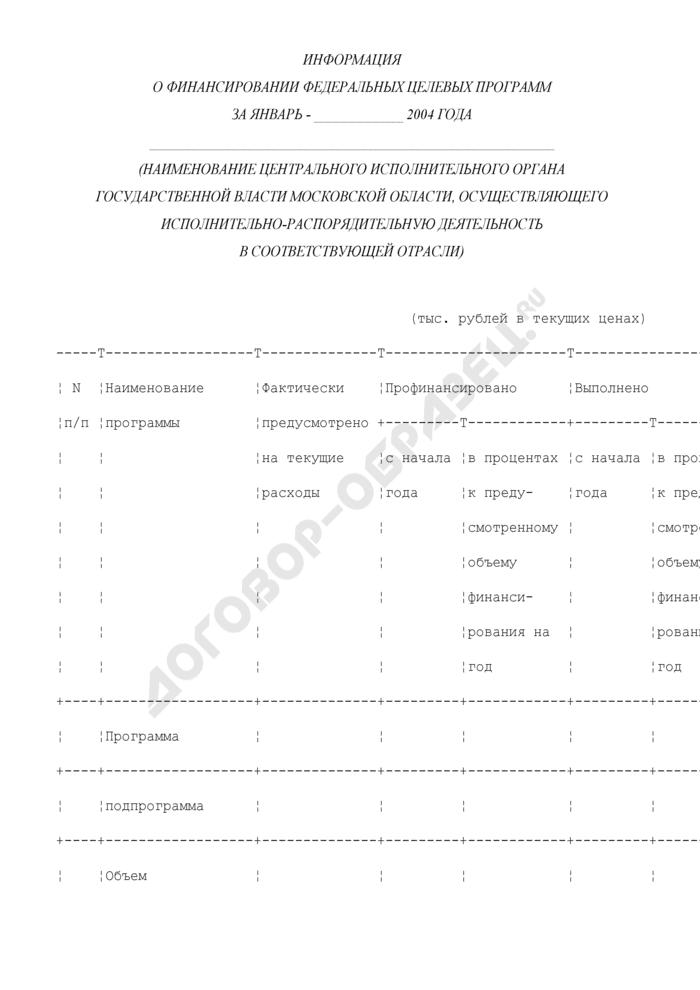 Информация о финансировании федеральных целевых программ по Московской области. Страница 1