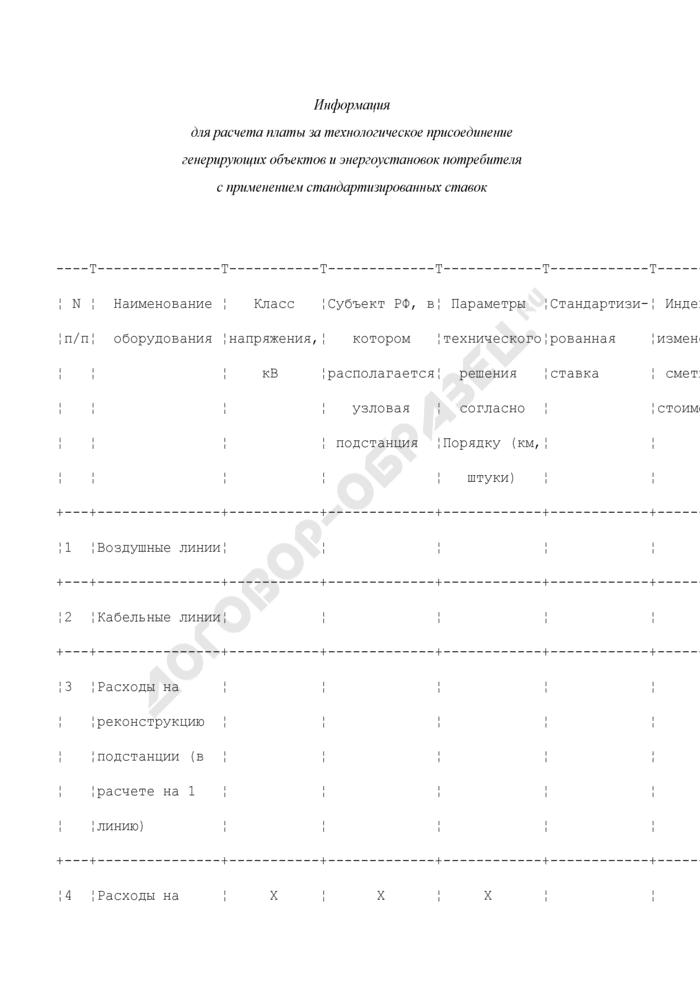 Информация для расчета платы за технологическое присоединение генерирующих объектов и энергоустановок потребителя с применением стандартизированных ставок. Страница 1