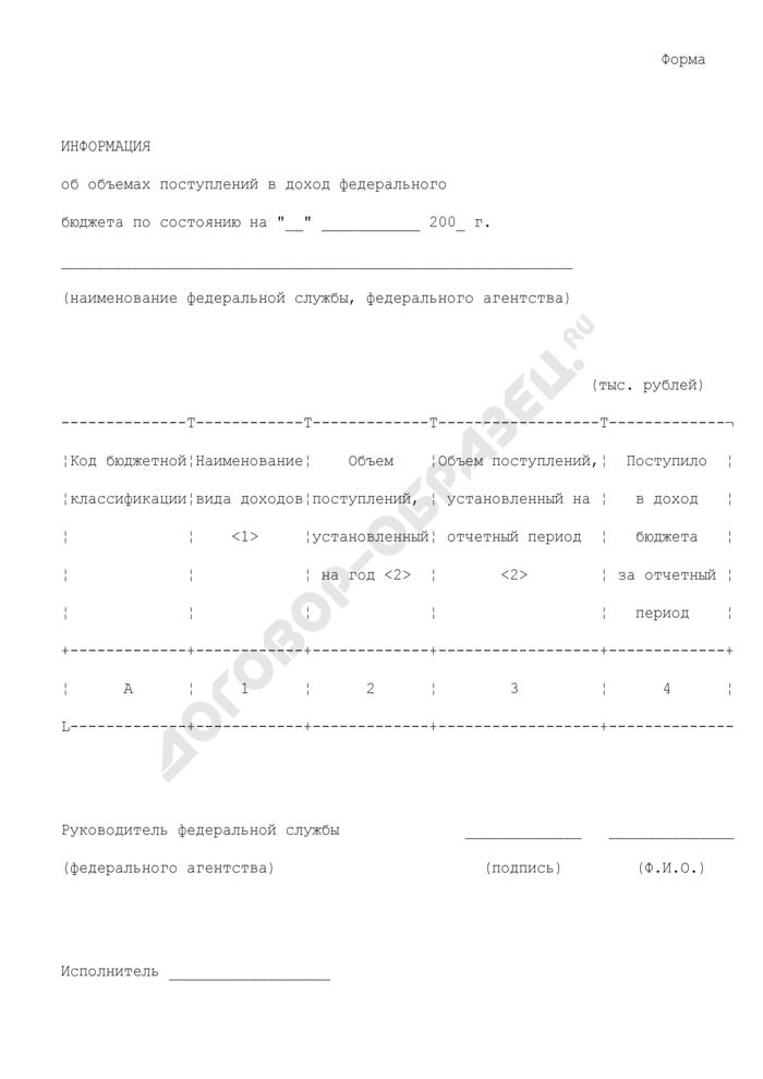 Информация об объемах поступлений в доход федерального бюджета. Страница 1