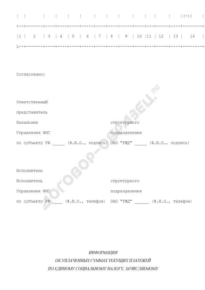 Информация об уплаченных суммах текущих платежей по единому социальному налогу, зачисляемому в федеральный бюджет, а также платежей по страховым взносам, пеням и штрафам в Пенсионный фонд РФ, уплаченных согласно графикам погашения реструктурированной задолженности, в соответствии с Постановлением Правительства РФ от 01.10.2001 N 699. Страница 2