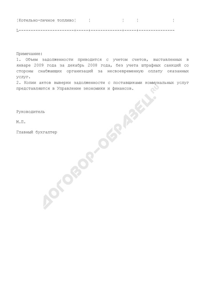 Информация организации, подведомственной Федеральному агентству по образованию о задолженности по состоянию на 01.01.2009 за коммунальные услуги. Страница 2