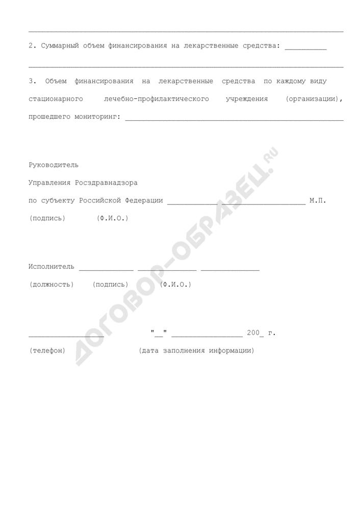 Информация по мониторингу цен и ассортимента лекарственных средств в стационарных лечебно-профилактических учреждениях (организациях) субъекта Российской Федерации. Страница 3