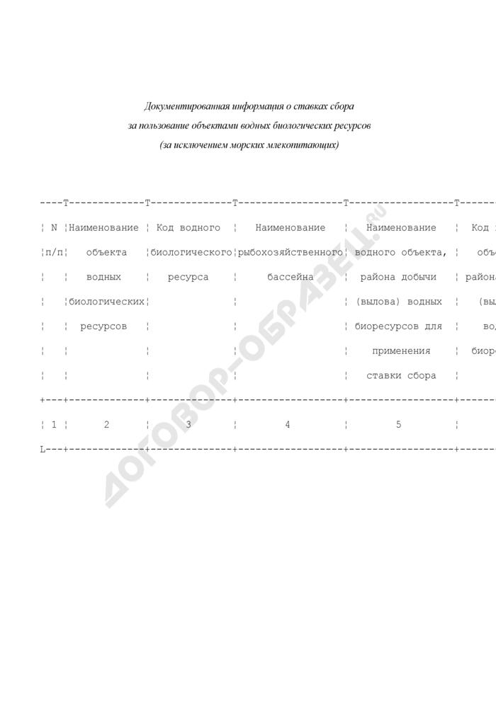 Количественные, качественные и экономические характеристики водных биологических ресурсов. Документированная информация о ставках сбора за пользование объектами водных биологических ресурсов (за исключением морских млекопитающих). Форма N 1.3.1.-грр. Страница 1