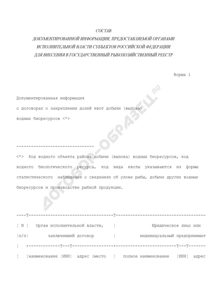Состав документированной информации, предоставляемой органами исполнительной власти субъектов Российской Федерации для внесения в государственный рыбохозяйственный реестр. Документированная информация о договорах о закреплении долей квот добычи (вылова) водных биоресурсов. Форма N 1. Страница 1