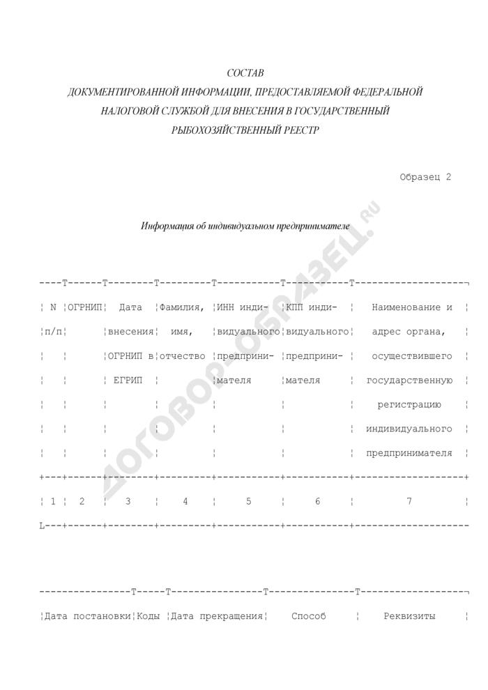 Состав документированной информации, предоставляемой Федеральной налоговой службой для внесения в государственный рыбохозяйственный реестр. Информация об индивидуальном предпринимателе (образец 2). Страница 1