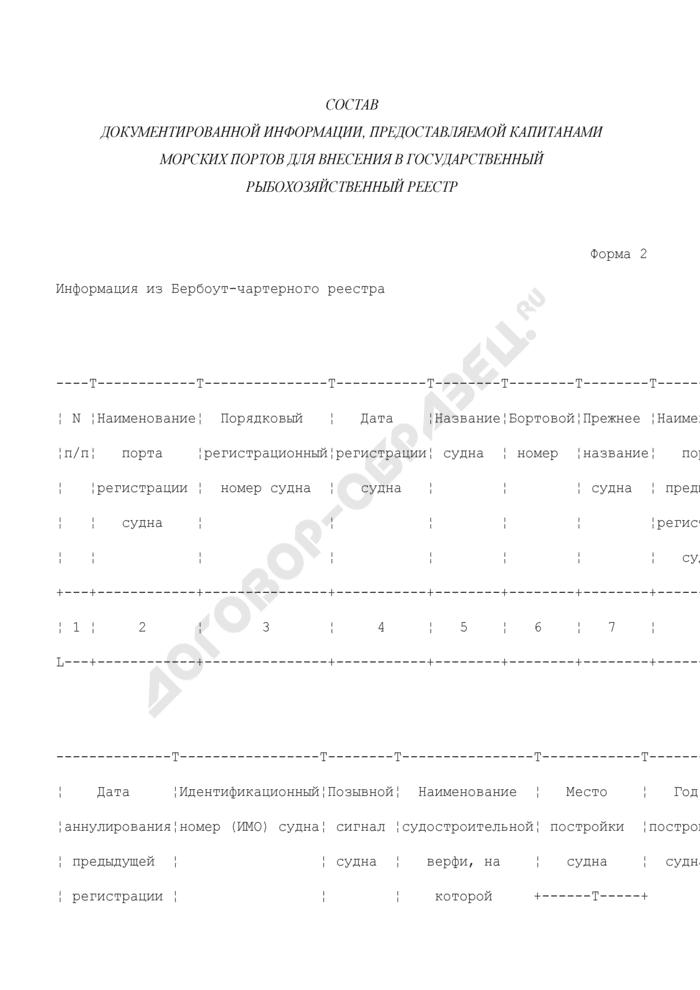 Состав документированной информации, предоставляемой капитанами морских портов для внесения в Государственный рыбохозяйственный реестр. Информация из Бербоут-чартерного реестра. Форма N 2. Страница 1