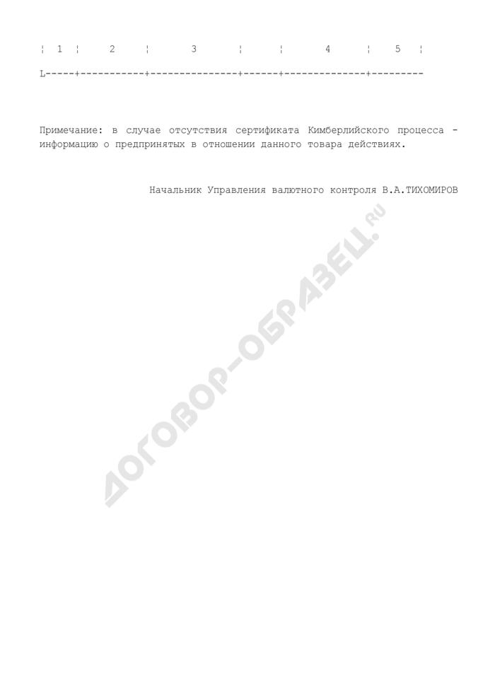 Форма представления информации при ввозе в Российскую Федерацию природных алмазов юридическими и физическими лицами. Страница 2