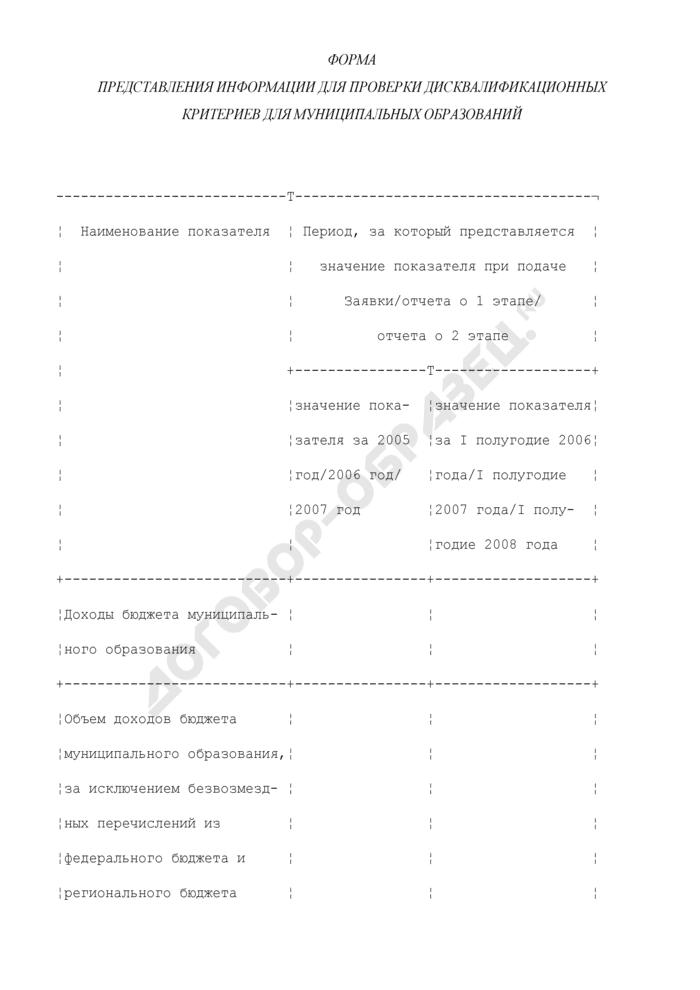 Форма представления информации для проверки дисквалификационных критериев для муниципальных образований. Страница 1
