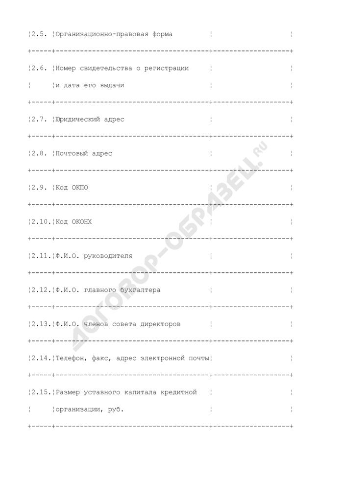 Форма представления информации о принадлежащих организациям, находящимся в ведении Министерства природных ресурсов России, акций кредитных организаций (инвестиционных, финансовых и страховых компаний). Страница 3