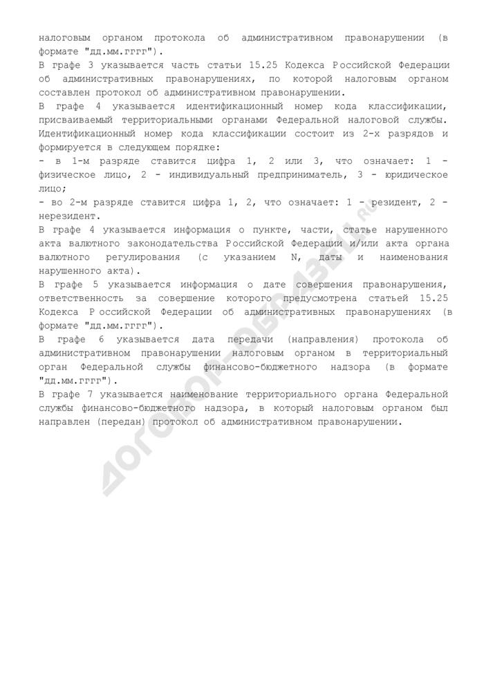 Информация о делах об административных правонарушениях, протоколы по которым составлены в отчетном периоде (приложение к информации, передаваемая Федеральной налоговой службой в Федеральную службу финансово-бюджетного надзора). Страница 2