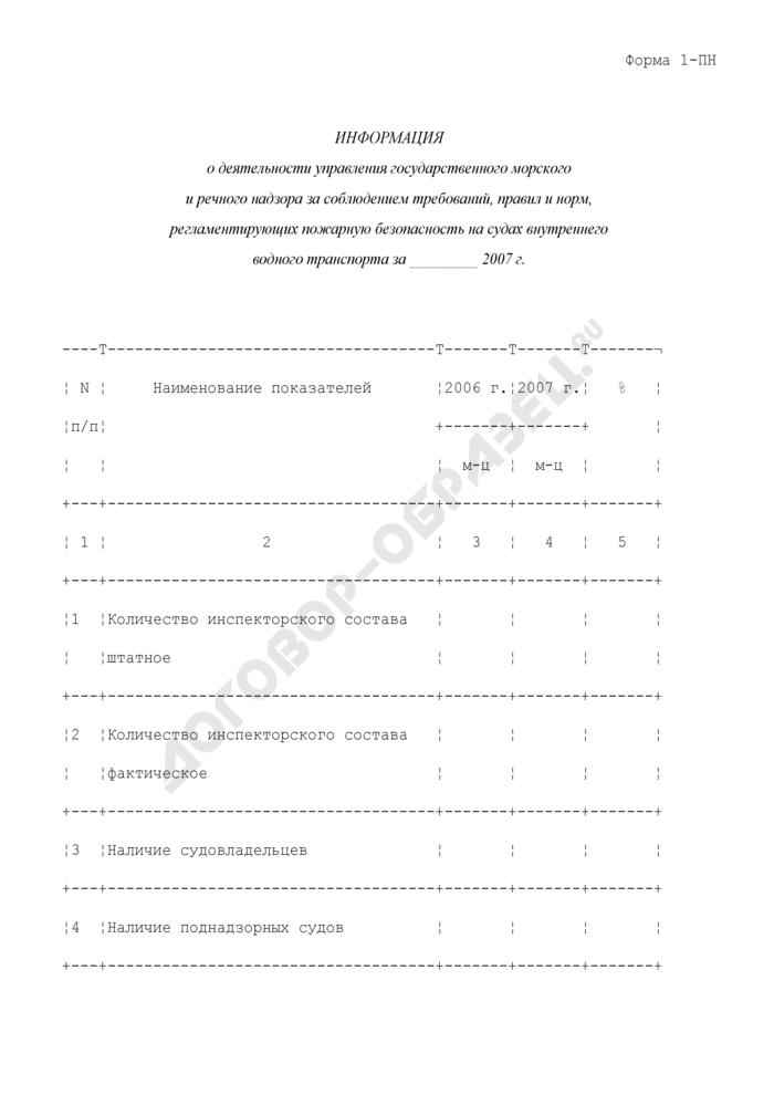 Информация о деятельности управления государственного морского и речного надзора за соблюдением требований, правил и норм, регламентирующих пожарную безопасность на судах внутреннего водного транспорта. Форма N 1-ПН. Страница 1