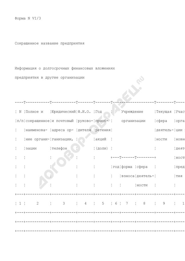 Информация о долгосрочных финансовых вложениях предприятия, находящегося в сфере ведения и координации Роспрома, в другие организации. Форма N VI/3. Страница 1