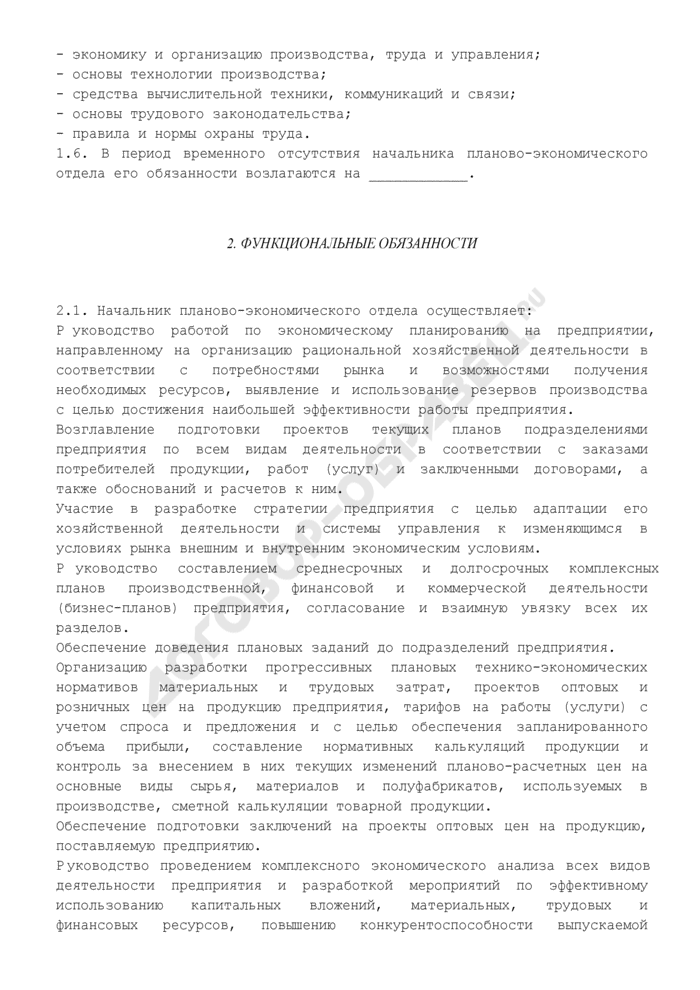 Должностная инструкция начальника планово-экономического отдела. Страница 2