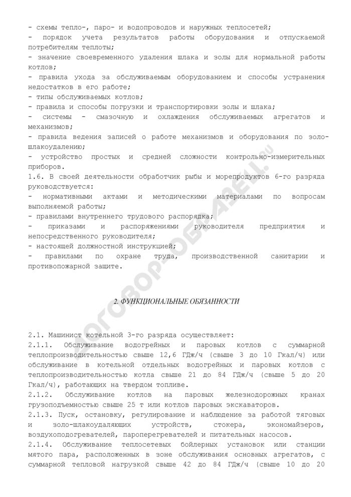 Должностная инструкция машиниста (кочегара) котельной 3-го разряда (примерная форма). Страница 2