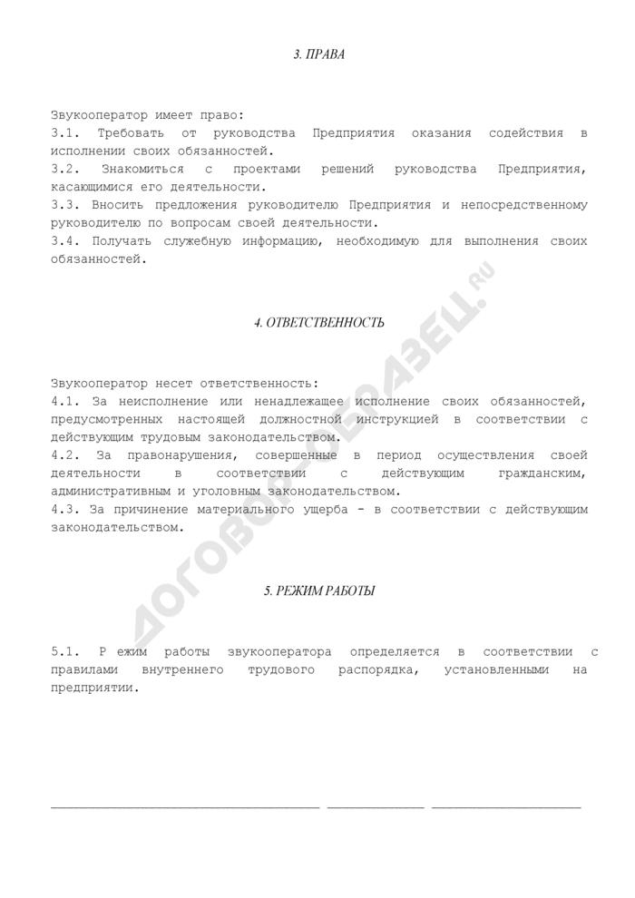 Должностная инструкция звукооператора (примерная форма). Страница 3