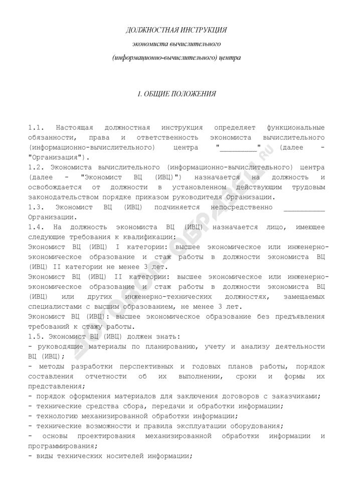 Должностная инструкция экономиста вычислительного (информационно-вычислительного) центра. Страница 1