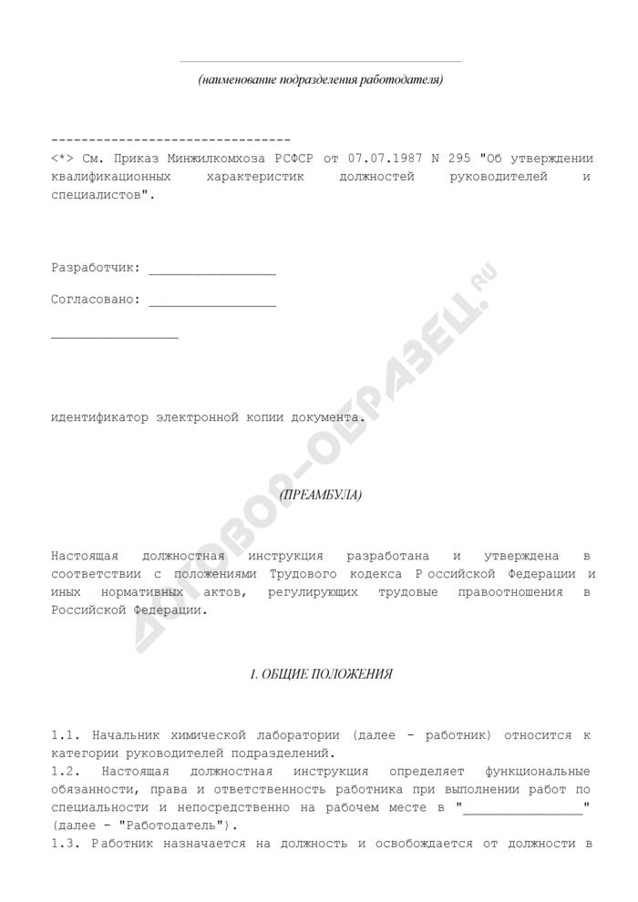 Должностная инструкция начальника химической лаборатории. Страница 2