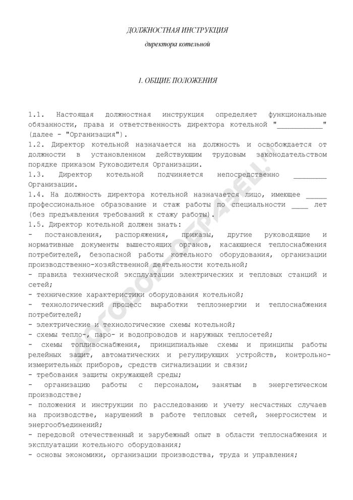 Должностная инструкция директора котельной. Страница 1
