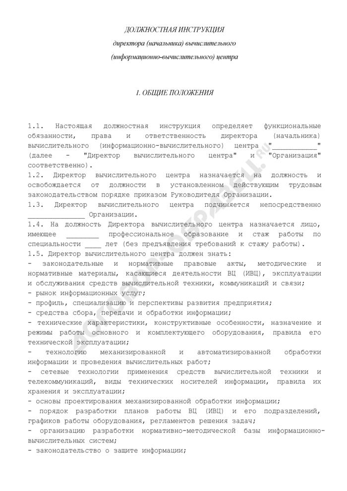 Должностная инструкция директора (начальника) вычислительного (информационно-вычислительного) центра. Страница 1