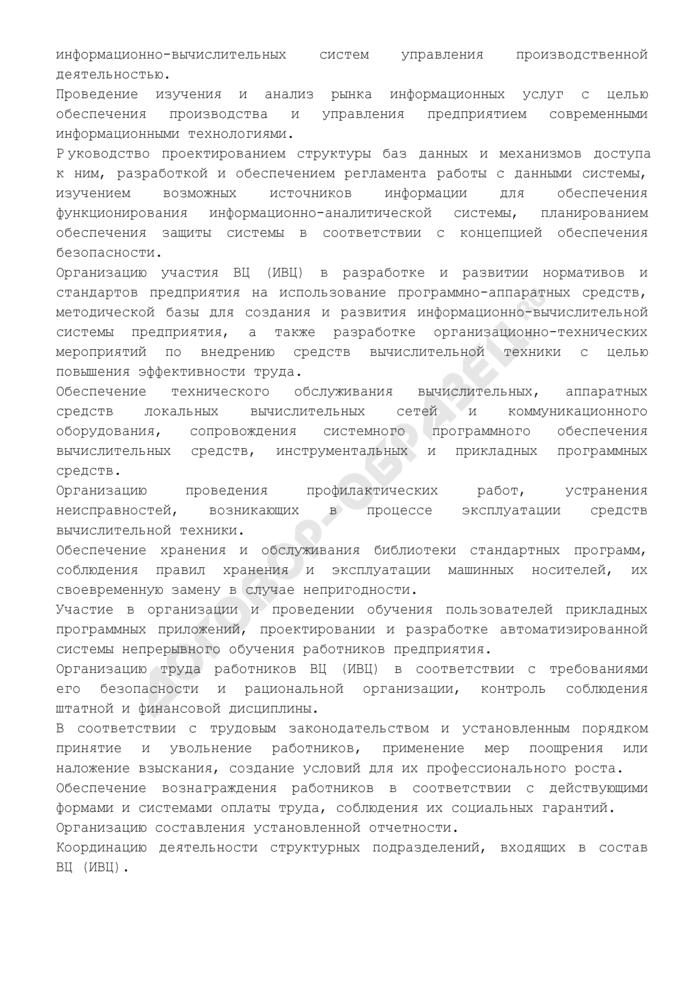 Должностная инструкция директора (начальника) вычислительного (информационно-вычислительного) центра. Страница 3
