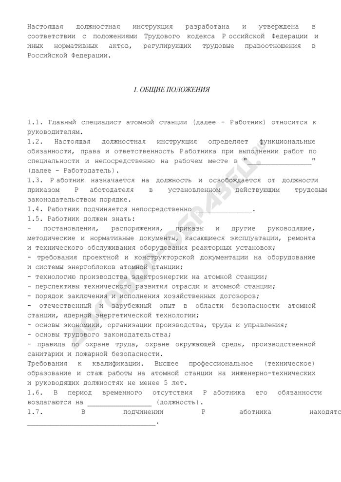 Должностная инструкция главного специалиста атомной станции. Страница 2