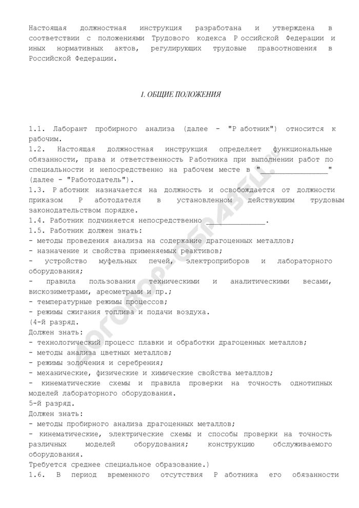 Должностная инструкция лаборанта пробирного анализа 3-го (4, 5) разряда. Страница 2