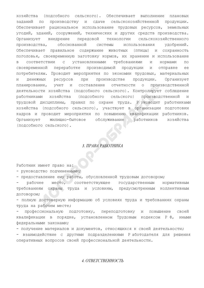 Должностная инструкция директора хозяйства (подсобного сельского). Страница 3