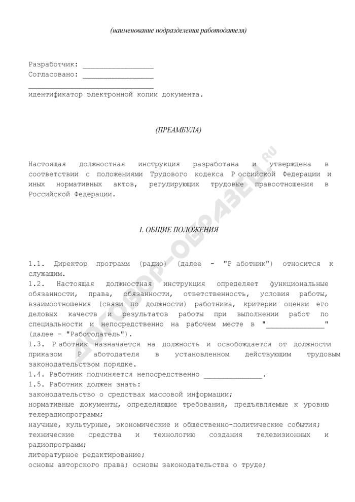 Должностная инструкция директора программ (радио). Страница 2