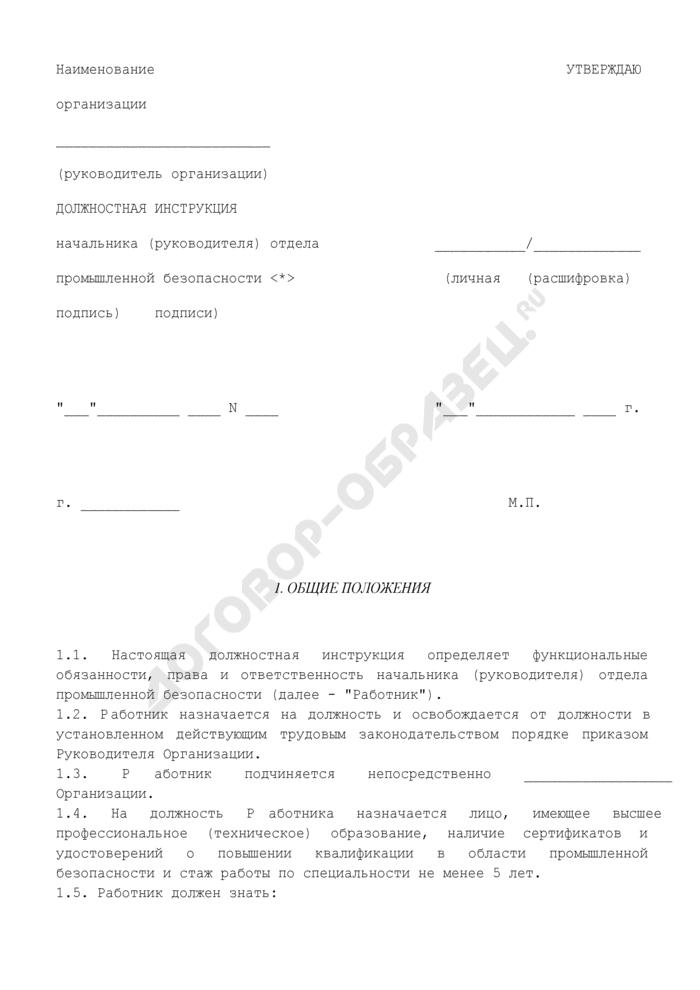 Должностная инструкция начальника (руководителя) отдела промышленной безопасности. Страница 1