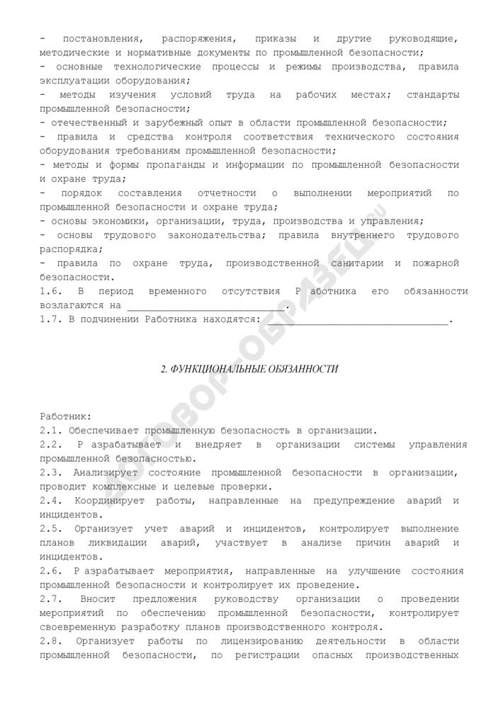 Должностная инструкция начальника (руководителя) отдела промышленной безопасности. Страница 2