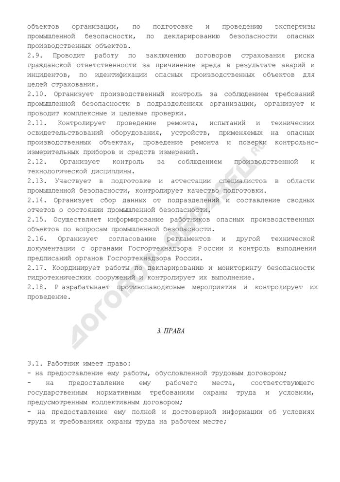 Должностная инструкция начальника (руководителя) отдела промышленной безопасности. Страница 3