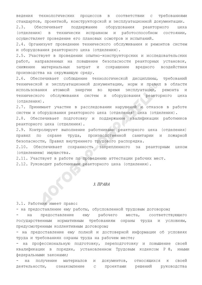 Должностная инструкция начальника (руководителя) реакторного цеха (отделения). Страница 3