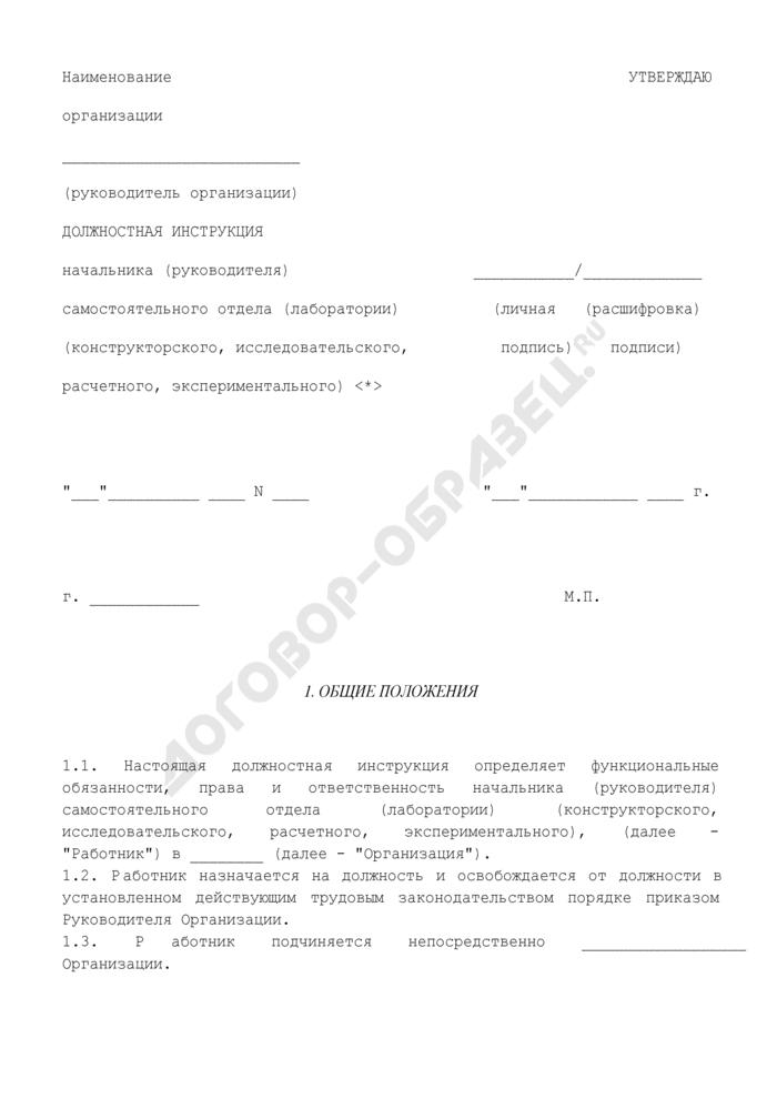 Должностная инструкция начальника (руководителя) самостоятельного отдела (лаборатории) (конструкторского, исследовательского, расчетного, экспериментального). Страница 1